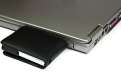 Laptop with external usb hard disk Royalty Free Stock Image