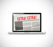 Laptop extra news online Stock Photo