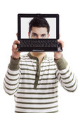Laptop face Stock Photography