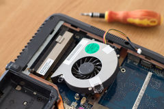 Laptop fan and heatsink cleaned Stock Photography