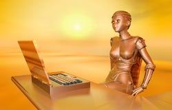 Laptop and female robot Stock Photos