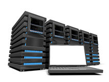 Laptop and few servers Royalty Free Stock Photo