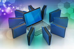 Laptop with file folder Stock Photography