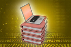 Laptop with file folder. In color background Royalty Free Stock Photography