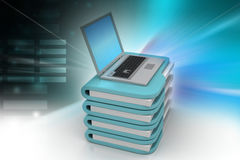 Laptop with file folder. In color background Stock Image