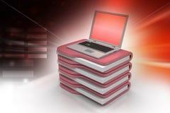 Laptop with file folder Stock Photo