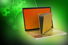 Laptop with file folder Royalty Free Stock Photography