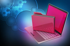 Laptop with file folder Stock Photos
