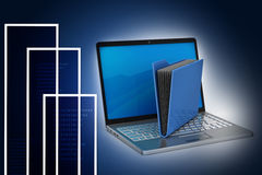 Laptop with file folder Royalty Free Stock Photo