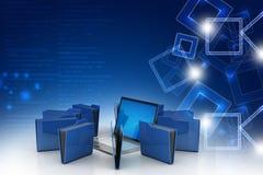 Laptop with file folder Stock Image