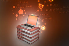 Laptop with file folder. In color background Stock Photo