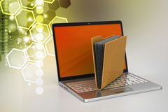 Laptop with file folder Stock Images