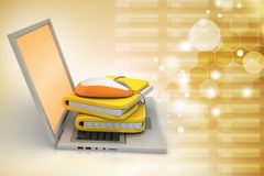 Laptop with file folder Royalty Free Stock Photos