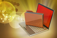 Laptop with file folder Stock Photo