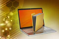 Laptop with file folder Royalty Free Stock Images