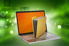 Laptop with file folder Royalty Free Stock Image