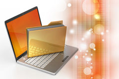 Laptop with file folder Royalty Free Stock Image