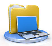 Laptop and file folder. In the design of the information related to the transfer of data Stock Photography