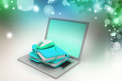 Laptop with file folder and mouse. In color background Stock Photography
