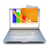 Laptop with file folders. And graph extruding from the screen on a white background Stock Photo