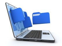 Laptop and file Royalty Free Stock Photo