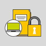 Laptop file security padlock concept. Vector illustration eps 10 Royalty Free Stock Photography