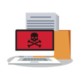Laptop file and security system design. Laptop and file icon. Security system warning protection and danger theme. Colorful design. Vector illustration Royalty Free Stock Photos