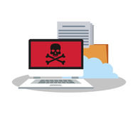 Laptop file and security system design. Laptop and file icon. Security system warning protection and danger theme. Colorful design. Vector illustration Royalty Free Stock Images
