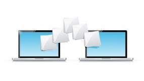 Laptop file transfer illustration design. Over a white background Stock Image
