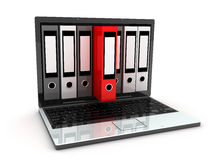 Laptop and files. Abstract laptop and files (done in 3d Royalty Free Stock Photography