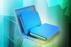 Laptop with files Royalty Free Stock Photos