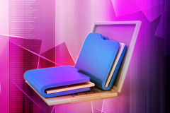 Laptop with files. In color background Royalty Free Stock Image