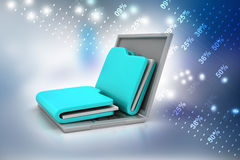 Laptop with files. In color background Stock Photo