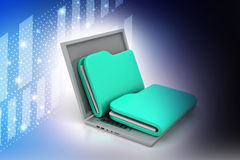 Laptop with files. In color background Royalty Free Stock Photos