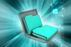 Laptop with files. In color background Royalty Free Stock Photography