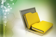 Laptop with files. In color background Stock Photography