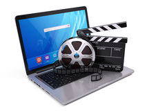 Laptop, Film and Clapper board - video icon. 3d rendering Royalty Free Stock Photography