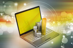 Laptop with financial graph Royalty Free Stock Images