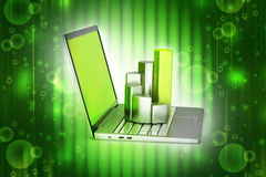 Laptop with financial graph Stock Images