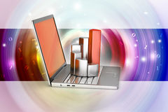 Laptop with financial graph Royalty Free Stock Photo