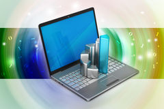 Laptop with financial graph Royalty Free Stock Photography