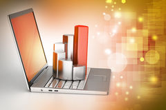 Laptop with financial graph Stock Photo