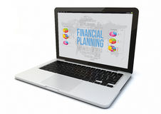 Laptop financial planning. Render of a 3d generated computer with financial planning on the screen. Screen graphics are made up Stock Photography