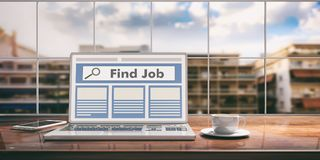 Laptop with find job screen on desk. Blurred city background. 3d illustration. Laptop with find job screen and silver color placed on a wooden desk. Room with a Royalty Free Stock Images