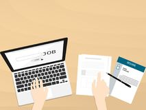 Notebook screen music wave laptop find job top view hand pointer resume. Laptop find job top view hand pointer resume Stock Image