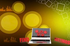 Laptop With Find Settings Illustration Royalty Free Stock Photos