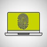 Laptop fingerprint security padlock concept. Vector illustration eps 10 Royalty Free Stock Image