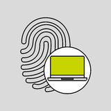 Laptop fingerprint security padlock concept. Vector illustration eps 10 Stock Image