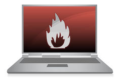 Laptop on fire / vector Royalty Free Stock Photos