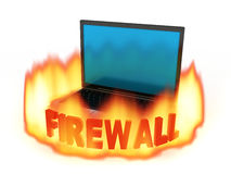 Laptop firewall Royalty Free Stock Photo